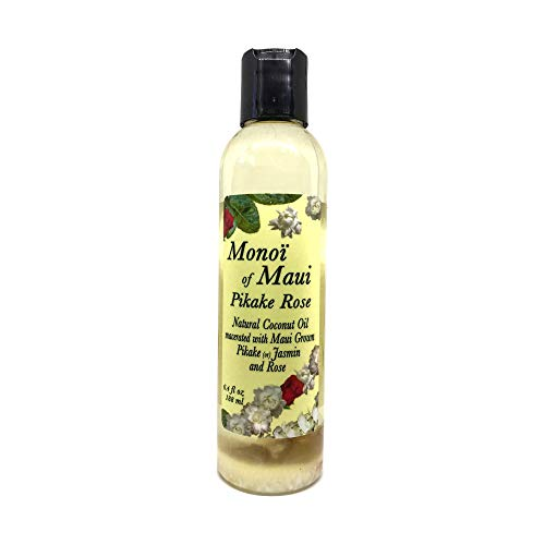 Monoi of Maui Pikake Rose Natural Coconut Oil for Skin, Hair, Tanning, and ()