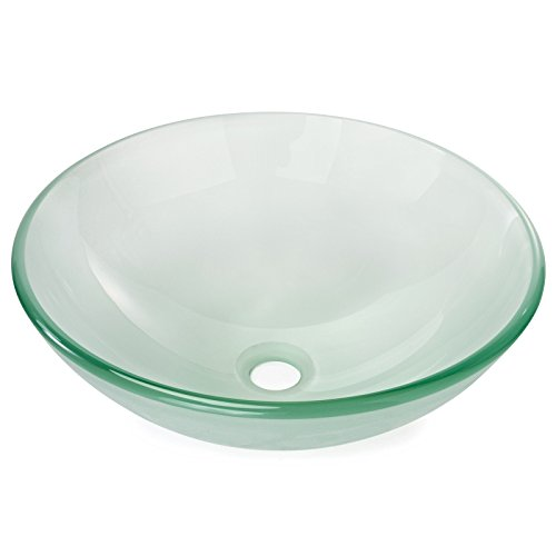 Miligor Modern Glass Vessel Sink - Above Counter Bathroom Vanity Basin Bowl - Round Frosted