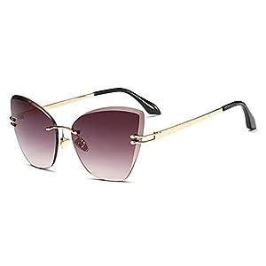 Dormery Sunglasses Women Cat Eye Brand Designer Rimless Sunglasses Female Clear Lens glasses Transparent Gradient Glasses Smoke lens
