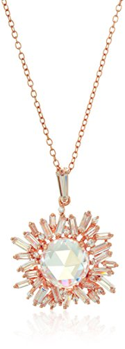 14k Rose Gold Plated Sterling Silver Cubic Zirconia Baguette Halo Pendant Necklace, ()