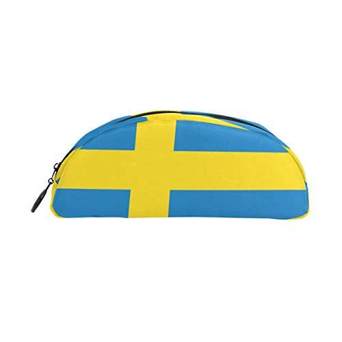MUOOUM Flag Of The Sweden Pencil Case Semicircle Stationery Pen Bag Pouch Holder for School Office Supplies