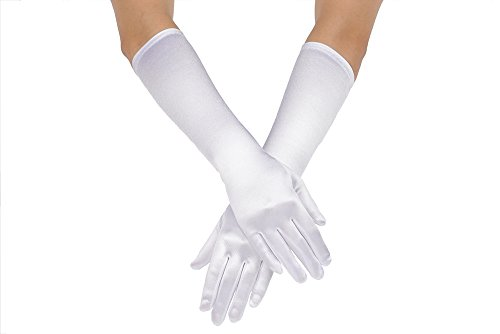 AISLE STYLE Girls Long Satin Gloves Costume Dance Wedding White Age4-7