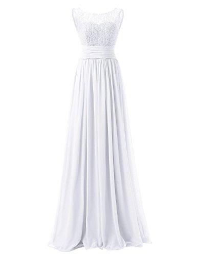 White abito da sera pizzo Huini donna da Elegante in chiffon 5XwwqIzA