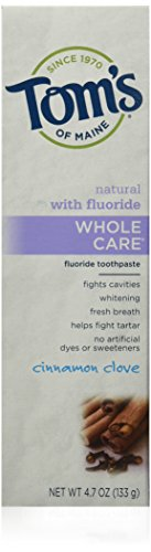 Tom's of Maine Whole Care Cinnamon Clove Fluoride Toothpaste, 6 Count
