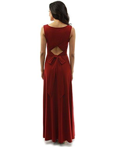PattyBoutik Mujer Vestido sin mangas del maxi del arco de la parte posterior del ojo de la cerradura rojo oscuro