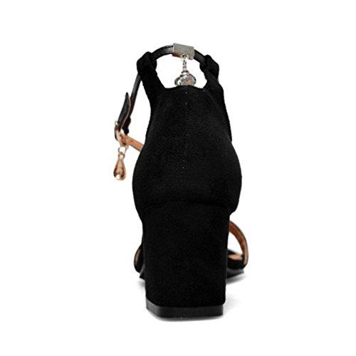 TAOFFEN Bout Sandales Black Talons Mode Bloc Femmes Ouvert AxrEqAFCw