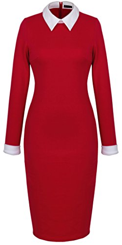 Homeyee Women's Celebrity Turn Down Collar Business Bodycon Dresses (M, Red) (Celebrity Red Dress)