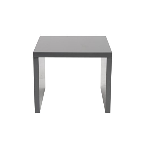 Eurø Style Abby Lightweight High-Gloss Lacquer Side Table, Gray