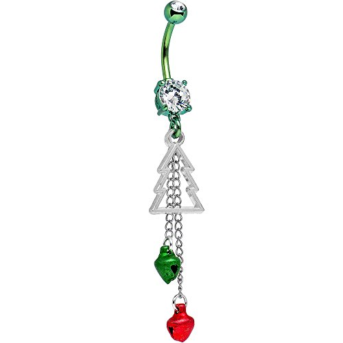 Body Candy Green Anodized Handcrafted Clear Accent Christmas Bells and Tree Dangle Belly Ring