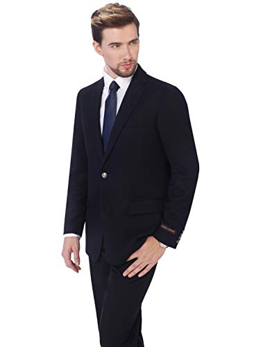 P&L Men's 5-Color Modern Fit Two-Button Blazer Suit Separate Jacket,Blue,46 - Coat Top Herringbone