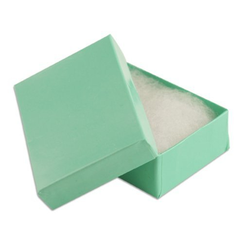 Foil Jewelry Gift Boxes - 100 pcs Teal Blue Cotton Filled Jewelry Gift Boxes 3x2