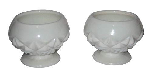Vintage Milk Glass Pedestal Dessert Dishes, Open Sugar or Small Planters, 3 x 3 1/2 Inch, Set of 2
