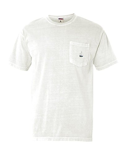 T-shirt Medium White Embroidered (Go All Out Medium White Adult Sail Boat Embroidered Short Sleeve Pocket T-Shirt)