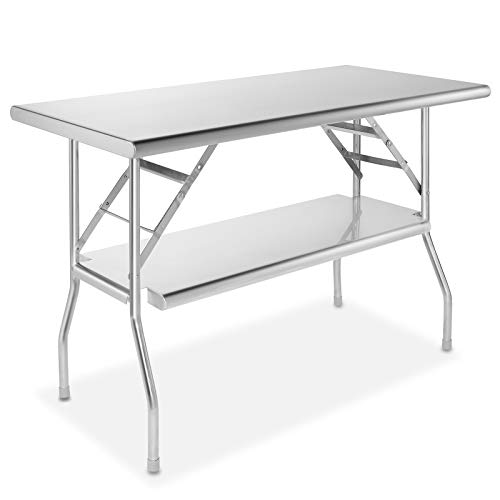GRIDMANN Stainless Steel Folding Table 48 x 24 Inch Kitchen Prep & Work Table with Undershelf (Stainless Steel Folding Table)