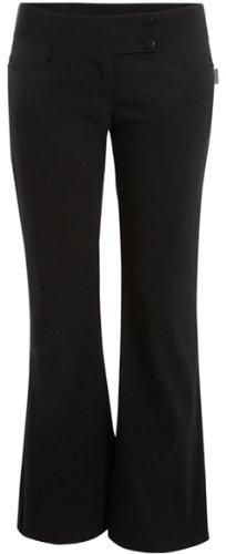 PaperMoon Women's Black Stretch Hipster Pants - Bootcut 2 Button - Size US 12 (UK 16) Inside Leg 31''