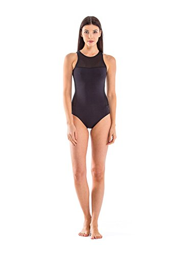 Glidesoul Women's Signature Collection High Neck Onepiece Swimsuit, Black, XX-Small by GlideSoul