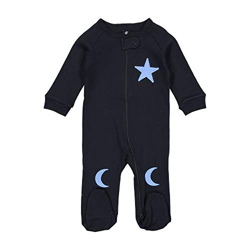 (Allie & Oliver 100% Cotton Snug Fit Baby Footie Pajamas, Star and Moon, Blue, 3 Months)