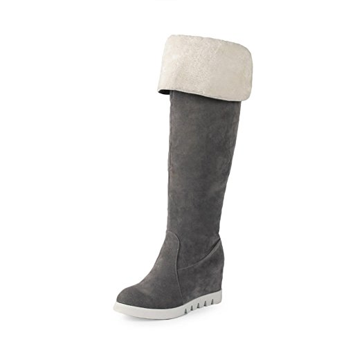 A&N Ladies Heighten Inside Round Toe Anti-Skidding Bottom Imitated Suede Boots Gray 0DhbziDM
