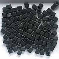20 Grams Black Opaque Matte Miyuki 4mm Square Cube Japanese Glass Seed Beads