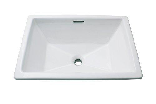Enbol O2014A White Rectangle Self Rimming Porcelain Lavatory