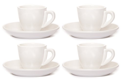 Clevercafé Venezia Classic White Porcelain 2 Ounce Espresso Cup and Saucer, Set of 4