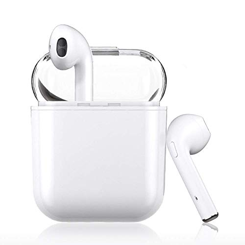 Bluetooth Earbuds, White Wireless Earbuds in-Ear Headphones Hands Free Noise Cancelling Headset Compatible with IPhone XR X 8 8plus 7 7 Plus 6 6plus Samsung Galaxy S9 S8 Huawei & Other Android Divices