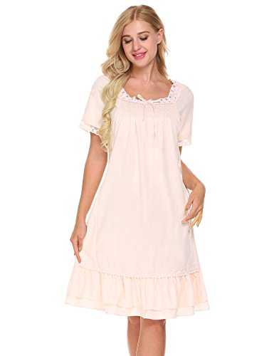 Lace Trim Nightdress (Ekouaer Womens Vintage Romantic Classic Princess Lace Trim Nightgown Nightdress,Pink,X-Large)