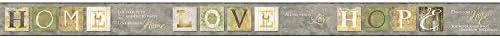 York Wallcoverings ac4367bd Keepsakes国引用符Border壁紙、グレー、ゴールド、イエロー、グリーン、クリーム、ブラック