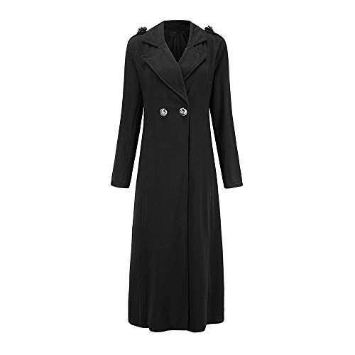 Seaintheson Winter Coat for Women, Women's Lapel Long Sleeve Wool Blend Longline Overcoat Open Front Cardigan with Buttons