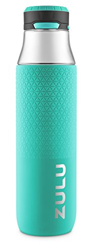 (ZULU Studio Glass Water Bottle with Silicone Sleeve, Mint, 26oz)