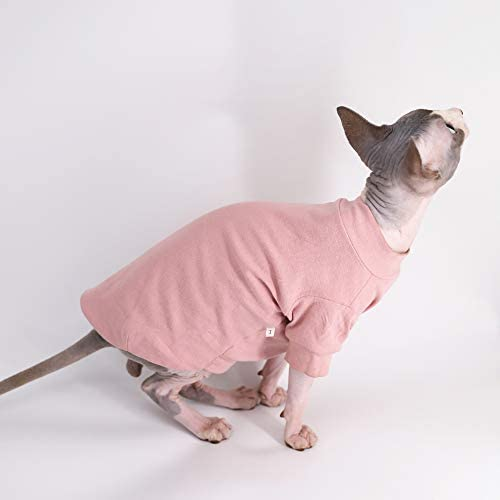 Sphynx Hairless Cat Cotton Tshirts Pet Clothes, Pullover Kitten T-Shirts with Sleeves, Cats & Small Dogs Apparel Solid Color 20