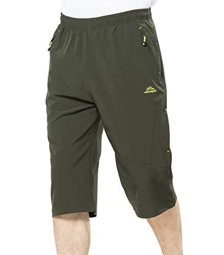 - Rdruko Men's Outdoor Sports Hiking Cargo Shorts Quick Dry Lightweight Capri 3/4 Cropped Pants(Green, US 30)