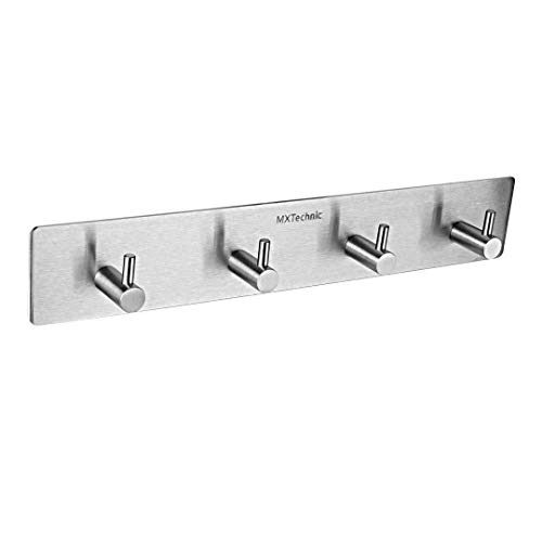 MXtechnic Self Adhesive Key Hooks and Hanger, 3M Stainless Steel Heavy Duty Coat Hanging Shelf Robe Towel Hanger Rack 4-Hook for Bathroom Kitchen Wall Mounted (4 Hooks)
