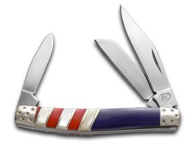 SILVERHORSE Exotic Stone American Flag Series Stockman Stainless Pocket Knife Knives by Steel Warrior
