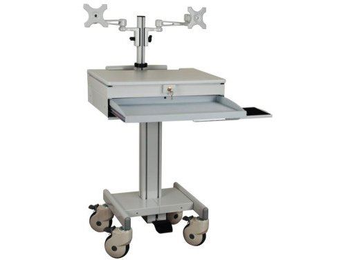 Monmount Mobile Computing Cart with Dual Monitor Arm (902DA) by MonMount