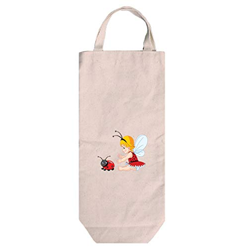Little Girl With Wings And Ladybird Cotton Canvas Wine Bag Tote With Handles