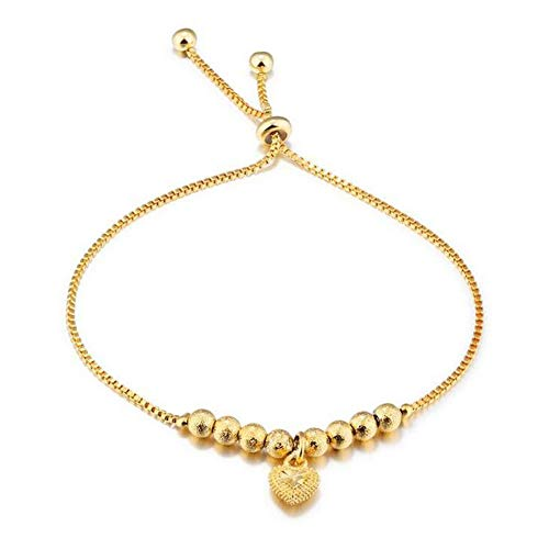 DX.OPK Gold Bracelets for Women Love Heart Bead 18K Yellow Gold Adjustable Bracelet 18-25cm/7.1-9.8in Chain Thin Bangle Perfect Birthday Christmas