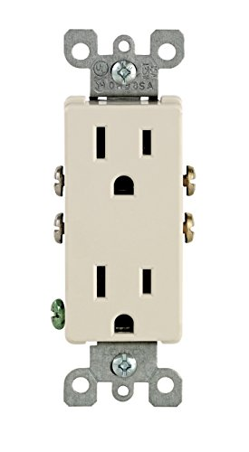 Leviton 5325-TMP 15 Amp, 125 Volt, Decora Duplex Receptacle, Residential Grade, Grounding, 10 Pack, Light Almond