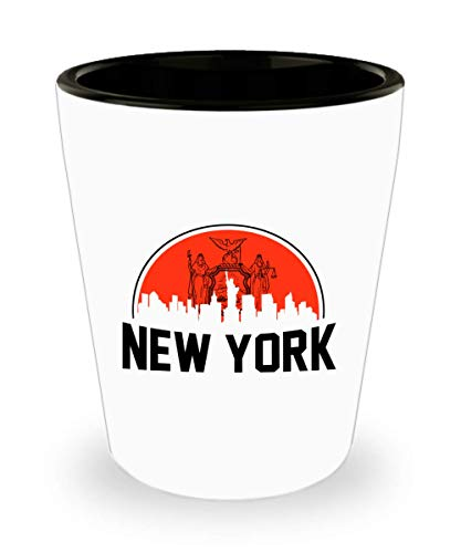 New York City Shot Glass, Funny Gift for New York City - New York Skyline Travel, Souvenir, Usa State, Statue Of Liberty Ceramic Cup Novelty Gifts