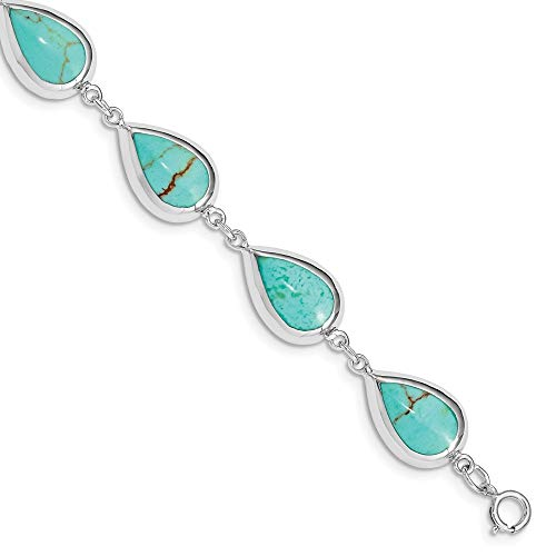 925 Sterling Silver Teardrop Synthetic Blue Turquoise Bracelet 7.75 Inch Gemstone Fine Jewelry Gifts For Women For Her