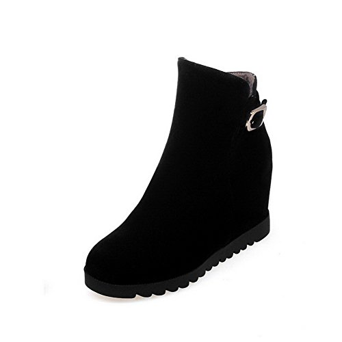 Round Women's Toe Imitated Black Boots Zipper Allhqfashion high Ankle High Suede Closed Heels qwdRnB