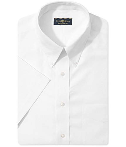 Club Room Mens Regular Fit Pinpoint Dress Shirt 17 Short Sleeve White (Pinpoint Shirt Fit Dress)