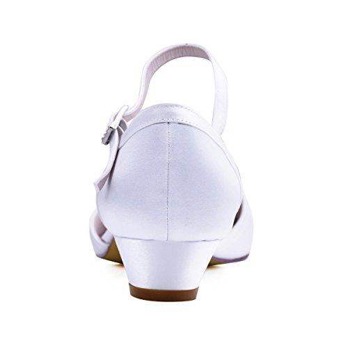 Mujeres Zapatos Elegante Blanco Danza Boda Bombea Los Park Satén Ronda Alto De Tacón Hc1621 Hebilla OOr6xqz