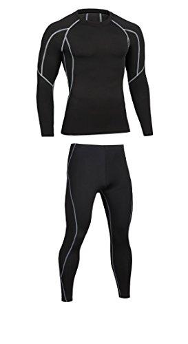 Prettywell Men's Compression Quick Dry Corset Sports Long Sleeve Shirts MA31 (XL, grey set)