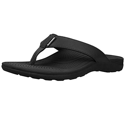 Orthotic Sandals Stylish Thong Flip Flops Men Ultra Comfort Slippers with Arch Support for Plantar Fasciitis, Flat Feet & Heel Spur (Black EUR 44)