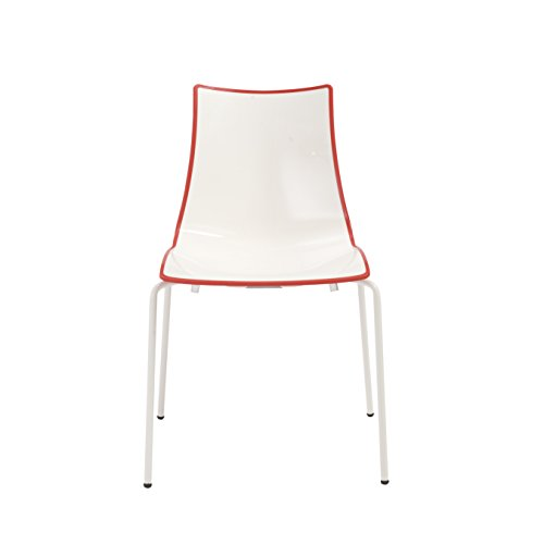 Euro Style Zebra Indoor/Outdoor Stackable Side Chair with Polyester Coated Steel (Set of 4), White and Red -  2272VB212