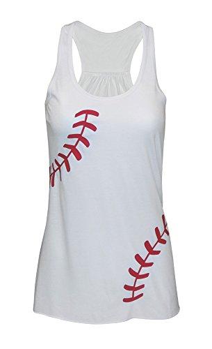Zone Apparel Women's Baseball Tank Top - Flowy Laces Racerback Shirt XX-Large White