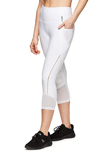 RBX Active Women's Yoga Workout Leggings Eyelash White L