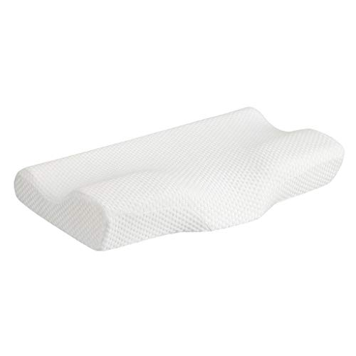 LANGRIA High-Density Memory Foam Bed Pillow CertiPUR-US Therapeutic Cervical Neck Pillow with Ergonomic Contoured Head Cavity Breathable Removable Cover for Back and Side Sleepers 25'×15'×4'/3'(White)