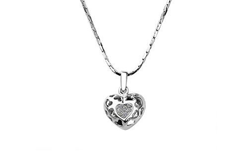 Collier Sautoir Pendentif Coeur Plaqué Platine Perforée de petits Coeurs et remplis de Cristaux Clair transparentes AAA + de Haute Qualité